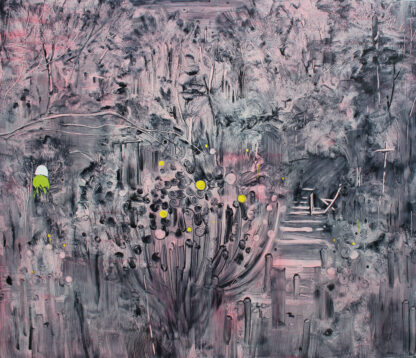 pink paint with organic shaped brushstrokes over dark grey background and 6 yellow dots